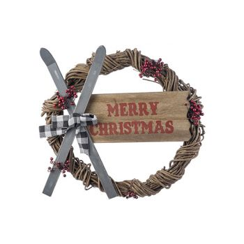 Cosy @ Home Wreath Skis - Merry Christmas Multi-colo