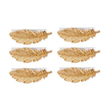 Cosy @ Home Clip Set6 Feather Gold 6x2xh2cm Polyresi