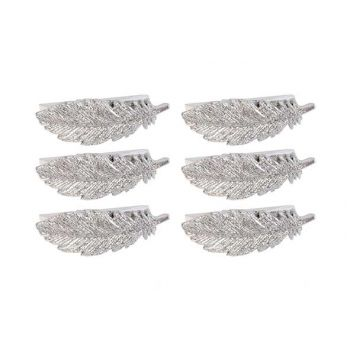 Cosy @ Home Clip Set6 Feather Silver 6x2xh2cm Polyre