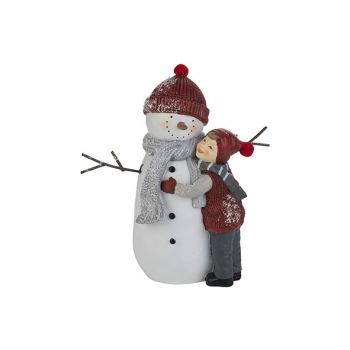 Cosy @ Home Snowman With Child Red White 20,2x10,4xh