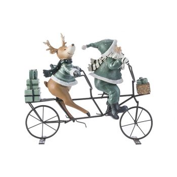 Cosy @ Home Santa Bicycle Deer Grey-green 24,8x9xh21