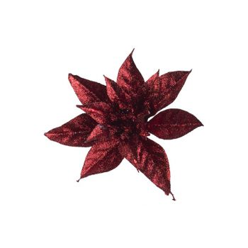 Cosy @ Home Poinsettia Clip Glitter Red D15cm Synthe