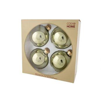 Cosy @ Home Xmas Ball Set4 Shiny Olive Green D10cm G