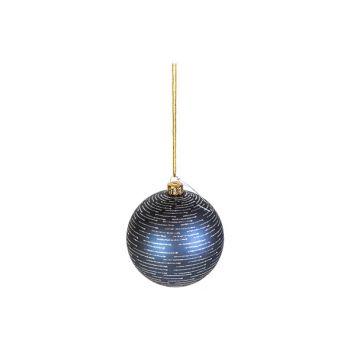 Cosy @ Home Xmas Ball Silver Stripes Night Blue D8cm