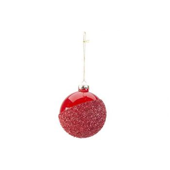 Cosy @ Home Xmas Ball Effect Red 8x8xh8cm Glass