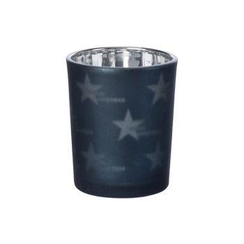 Cosy @ Home Tealight Glass Stars Night Blue D6xh7cm