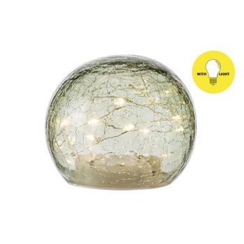 Cosy @ Home Ball Led Lamp Green D12xh10cm Glass