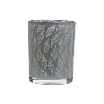 Cosy @ Home Tealight Holder Leaf White 10x10xh12,5cm