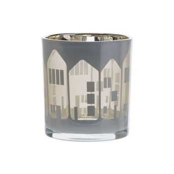 Cosy @ Home Tealight Holder Houses White 7,3x7,3xh8c