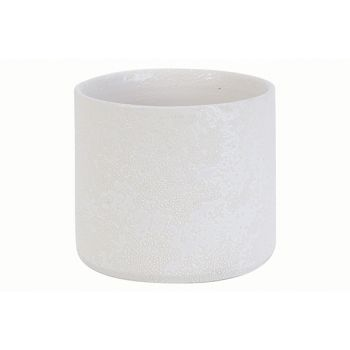 Cosy @ Home Flowerpot Rough White 15x15xh13cm Cylind