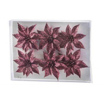 Cosy @ Home Xmas Rose Set6 Glitter Raspberry D8 Cm