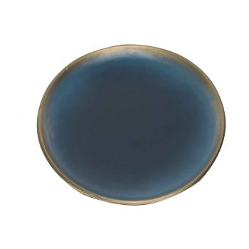 Cosy @ Home Plate Brush Goud Night Blue 40x40xh3,5cm