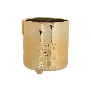 Cosy @ Home Flowerpot Face Gold 9,5x9,5xh10,8cm Ston