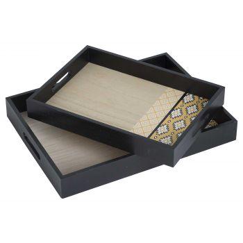 Cosy @ Home Tray Set2 Indian Black 30x40xh5cm Wood