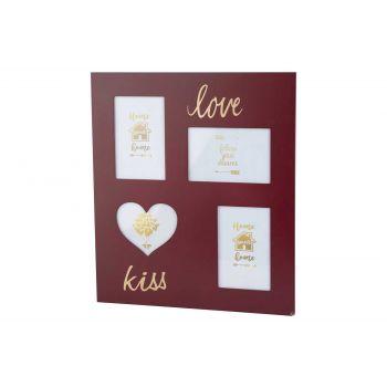 Cosy @ Home Pell Mell Love Burgundy 35x40xh,8cm Wood