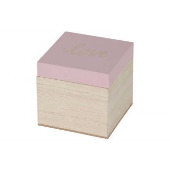 Cosy @ Home Box Love Pink Nature 10,1x10xh9,5cm Wood