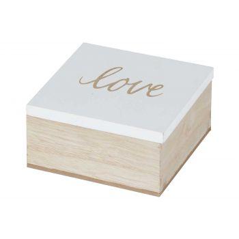 Cosy @ Home Box Love White Nature 10x10xh5cm Wood