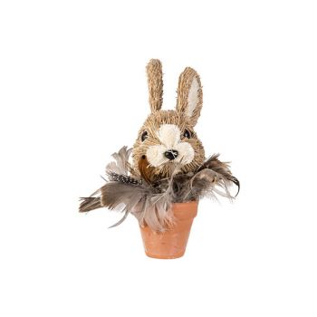 Cosy @ Home Rabbit In Pot Feathers Brown 13x13xh15,5