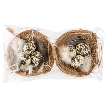 Cosy @ Home Nest Set2 With Eggs Nature D8cm