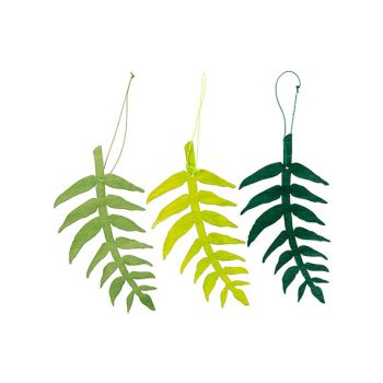 Cosy @ Home Leaf Hanger 3 Types Green 10xh20cm Wood