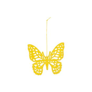 Cosy @ Home Butterfly Hanger Yellow 12xh11cm Wood