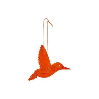 Cosy @ Home Hummingbird Hanger Orange 14xh10cm Wood