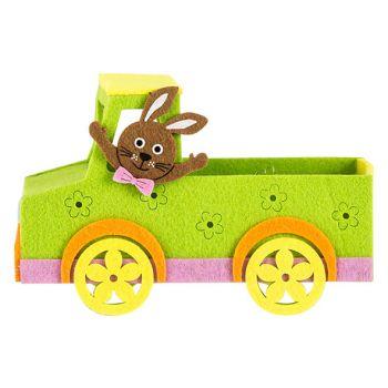 Cosy @ Home Easter Basket Car Green 18x7xh12cm Felt