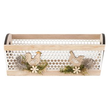 Cosy @ Home Basket Chickens Nature 24x15xh9cm Wood