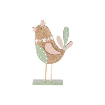 Cosy @ Home Bird Mint Pink Nature 11x4xh18cm Wood