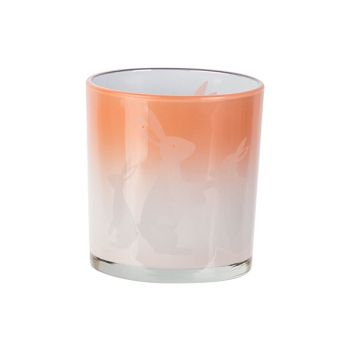 Cosy @ Home Tealight Holder Bunny White Pink D7xh8cm