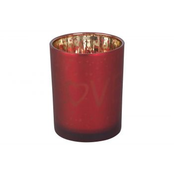 Cosy @ Home Tealight Holder Love Gold Red D10xh12cm