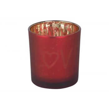 Cosy @ Home Tealight Holder Love Gold Red D7xh8cm Gl