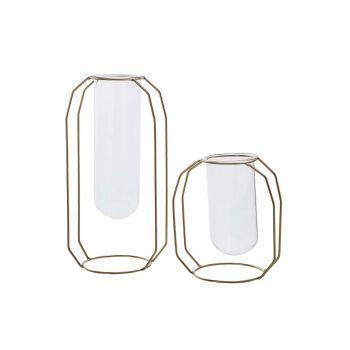 Cosy @ Home Vase Metal Frame Glass Tube D6 H12 Cm Go