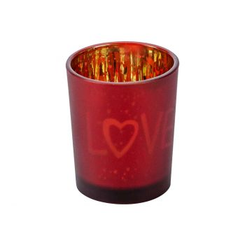 Cosy @ Home Tealight Holder Love Gold Red D5,5xh7cm