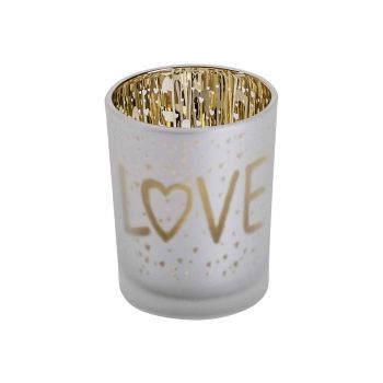 Cosy @ Home Tealight Holder Love Gold White D5,5xh7c