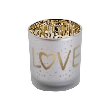 Cosy @ Home Tealight Holder Love Gold White D7xh8cm