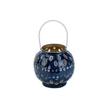 Cosy @ Home Lantern Email Blue 13x13xh14cm Metal