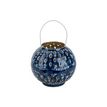 Cosy @ Home Lantern Email Blue 18x18xh20cm Metal