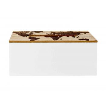 Cosy @ Home Tissue Box Map White Nature 24,5x13,5xh1
