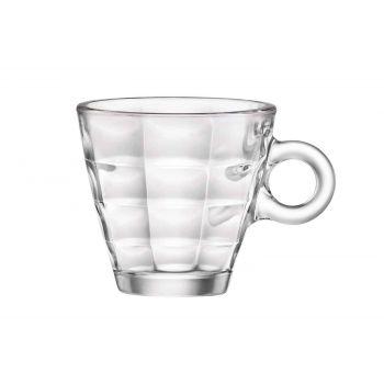 Bormioli Cube Espresso Cups And Saucer 10cl Set 6