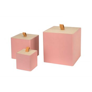 Cosy @ Home Box With Lid Set3 Retro  Pink 25x25xh25c