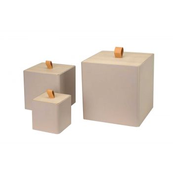 Cosy @ Home Box With Lid Set3 Taupe 25x25xh25cm Squa