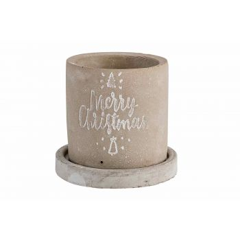 Cosy @ Home Flowerpot Merry Xmas With Saucer Gr
