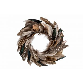 Cosy @ Home Wreath With Feathers Brown 35x4xh35cm Ro