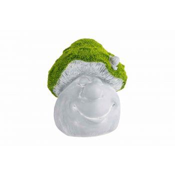 Cosy @ Home Mushroom Face Flocked Green Grey 17x17xh