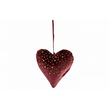 Cosy @ Home Heart Strass Burgundy 13x3xh13cm Polyest