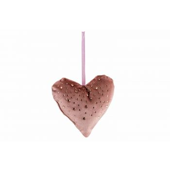 Cosy @ Home Hanger Heart Strass Old Pink 13x3xh13cm