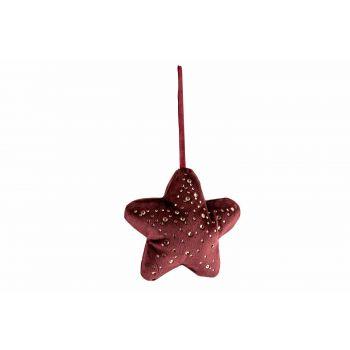 Cosy @ Home Hanger Star Strass Burgundy 13x3xh13cm P