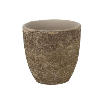 Cosy @ Home Flowerpot Rough Cream 15x15xh15cm Round