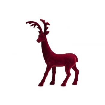 Cosy @ Home Deer Flocked Dark Red 58x25xh74cm Synthe